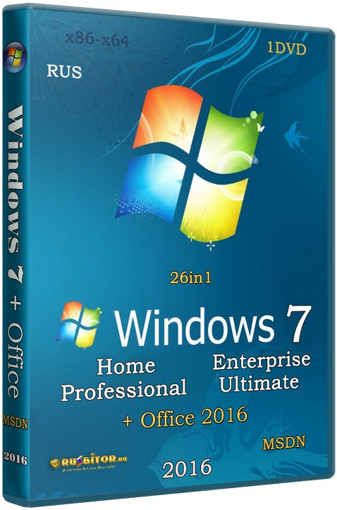 Windows 7 SP1 +/- Office 2016 26in1 (x86/x64) [20.06.16] [2016] [1DVD] by SmokieBlahBlah